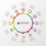 Infographic cirkel Malplaatje voor diagram, grafiek, presentatie en grafiek Vector illustratie Stock Foto's
