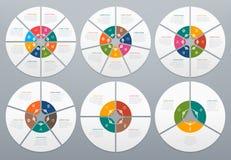Infographic cirkel Runt diagram av processmoment, runt diagram med pilen Cirklar och vektor för pilgrafdiagram vektor illustrationer