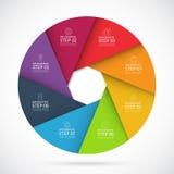 infographic cirkelmall för 8 moment i materiell stil Arkivfoto