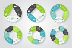 Infographic cirkelpijlen Vectormalplaatje in document stijl stock illustratie
