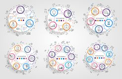 Infographic cirkelpilar Affärsidéen med 3 4 5 6 7 8 alternativ, särar, kliver eller processar Vektorcirkeldiagram stock illustrationer