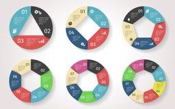 Infographic cirkelpilar Vektormall i pappers- stil vektor illustrationer