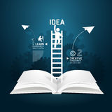 Infographic climbing ladder book diagram creative paper cut.