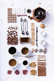 Infographic coffee collection of ingredients, recipe. Flat lay, Stock Photo