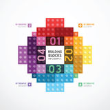 Infographic color building blocks banner Template. concept vecto. R illustration Stock Photo