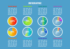 Infographic with color diagrams end percents Royalty Free Stock Image