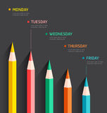 Infographic with color pencils chart Royalty Free Stock Photo