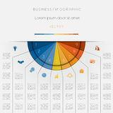 Infographic color semicircle template on nine positions Royalty Free Stock Photo