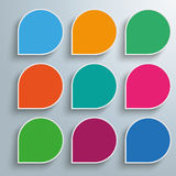 Infographic 9 Colored Abstract Speech Bubbles. Infographic design with 9 colored speech bubbles on the gray background Stock Illustration