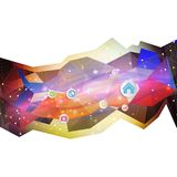 Infographic with colored circles, triangle design Stock Photos