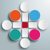 Infographic Colored Drops Cross Rectangles 4 Circl Stock Photography