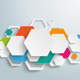 Infographic Colored Paper Hexagons Line PiAd. Infographic design with hexagons on the grey background. Eps 10  file Stock Photo