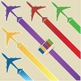 Infographic of Colorful Airplanes with Colorful Background, Vector Illustraton Stock Images