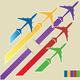 Infographic of Colorful Airplanes with Colorful Background, Vector Illustraton Royalty Free Stock Photos