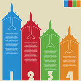 Infographic of Colorful Airplanes with Colorful Background, Vector Illustraton Royalty Free Stock Images