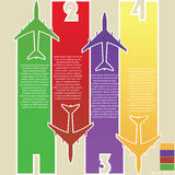 Infographic of Colorful Airplanes with Colorful Background, Vector Illustraton Stock Photo