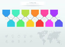Infographic Colorful Timeline With 12 Months Of The Year. Vector colorful paper banners with months timeline and arrows pointing to a blank space for text with Royalty Free Stock Image