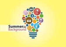 Infographic colorfullpictogram van het de zomeridee Stock Fotografie
