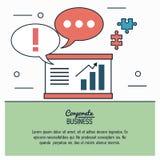 Infographic colorido del negocio corporativo con el gráfico de las burbujas económicas del crecimiento y del discurso y de los pe Imagen de archivo