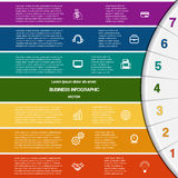 Infographic,7 colour strips and semicircle Royalty Free Stock Image