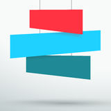 Infographic 3 Colourful Title Boxes Hanging 3d Vector. Vector 3d blank flat colourful tilted 3 line banners hanging from wires with space for titles and text stock illustration