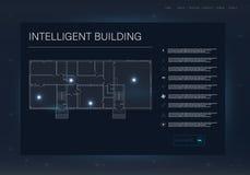 Infographic com casa inteligente Projeto de exposição futuro da tecnologia Conceito home esperto ilustração royalty free