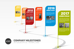Infographic Company Milestones Timeline Template Royalty Free Stock Images