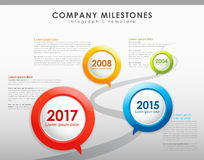 Infographic company milestones timeline vector template. Info graphic company milestones timeline vector template. Vector art Stock Photo