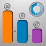 Infographic con el indicador en el LED superior y azul bajo la forma de gráfico Fotos de archivo libres de regalías