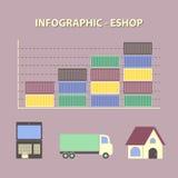 Infographic con il grafico del negozio online crescente di affari Immagine Stock Libera da Diritti