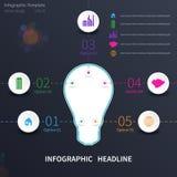 Infographic con la lampadina Immagini Stock Libere da Diritti