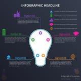 Infographic con la lampadina Fotografia Stock Libera da Diritti
