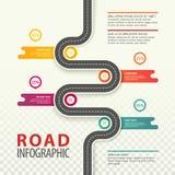 Infographic con la opinión superior sobre el camino con datos Fotos de archivo