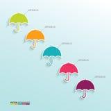 Infographic con los paraguas coloreados en el fondo azul Fotos de archivo libres de regalías