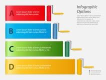 Infographic con los rodillos de pintura Imagenes de archivo