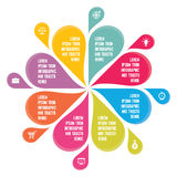Infographic Concept - Abstract Background - Creative Vector Illustration. With Colorful Petals and Icons for presentation, booklet, web page etc Royalty Free Stock Photos