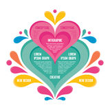 Infographic Concept - Abstract Background - Creative Vector Illustration. With Colorful Petals and Pink Heart for presentation, booklet, web page etc Stock Photo