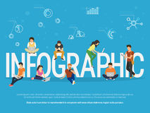 Infographic concept illustration of young people Stock Images