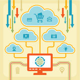 Infographic Concept - Internet Clouds. Infographic concept with icons for your presentation, web-site etc Stock Photos