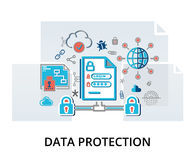 Infographic concept of internet security, network protection and. Modern flat thin line design vector illustration, infographic concept of internet security Royalty Free Stock Images