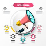 Infographic Concept with Megaphone. Data Flow Chart Template with Circle Labels. Vector Web Layout for Companies. Four Steps Infographics Announcement Design vector illustration