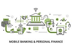 Infographic concept of mobile banking and personal finance. Modern flat thin line design vector illustration, infographic concept of mobile banking and personal Royalty Free Stock Images