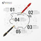 Infographic concept with piggy bank and icons. Vector. Illustration Royalty Free Stock Images