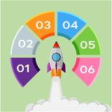 Infographic concept rocket start up Royalty Free Stock Photos