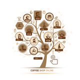 Infographic concept -  tree with coffee icons  Royalty Free Stock Images