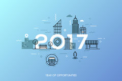 Infographic concept 2017 year of opportunities. Infographic banner 2017 year of opportunities. New hot trends and prospects in urbanism, cities development Royalty Free Stock Images