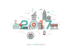 Infographic concept 2017 year of opportunities. Infographic banner 2017 year of opportunities. New hot trends and prospects in urbanism, cities development Stock Photo