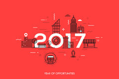 Infographic concept 2017 year of opportunities. Infographic banner 2017 year of opportunities. New hot trends and prospects in urbanism, cities development Royalty Free Stock Photos