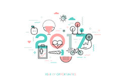Infographic concept 2017 year of opportunities. Infographic banner 2017 year of opportunities. New trends and prospects in healthcare, sports, fitness, lifestyle Royalty Free Stock Photo