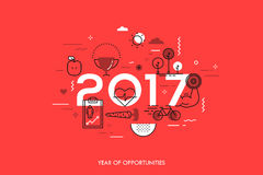 Infographic concept 2017 year of opportunities. Infographic banner 2017 year of opportunities. New trends and prospects in healthcare, sports, fitness, lifestyle Royalty Free Stock Photos